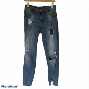 H&M blue skinny ripped distressed jeans size 6